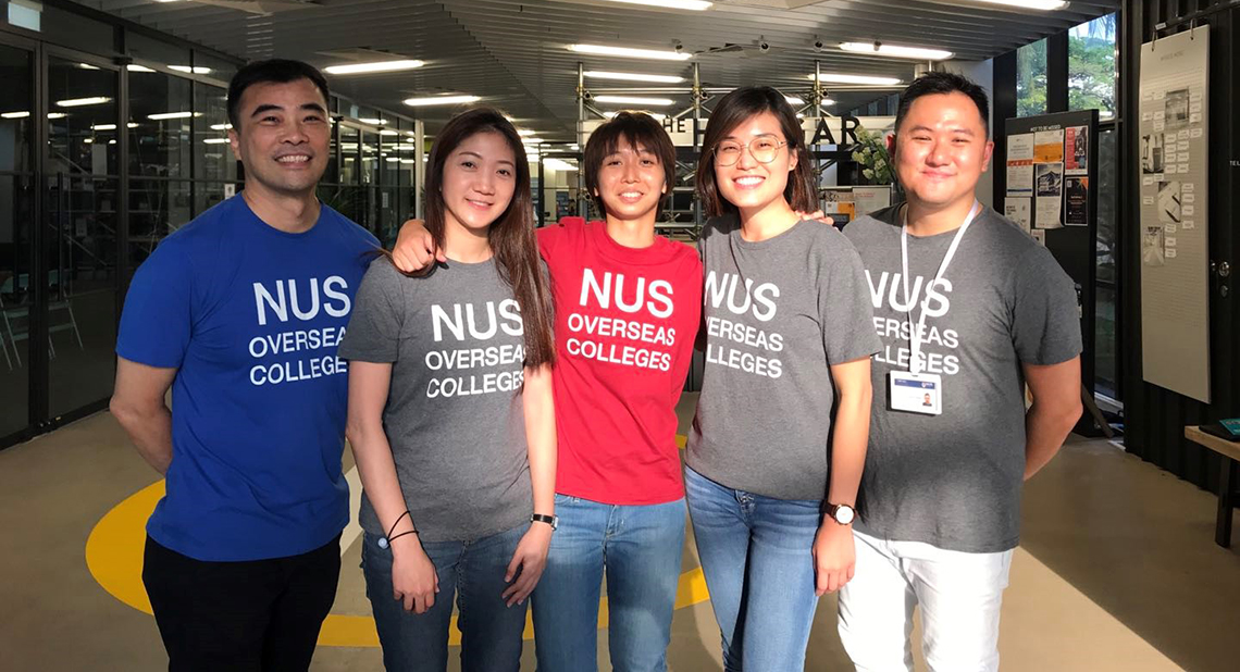 Mr Ho Geer How (in blue) with fellow NUS Overseas College colleagues